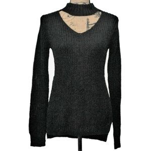 Planet Gold Sweater Black Small Cutout Pullover